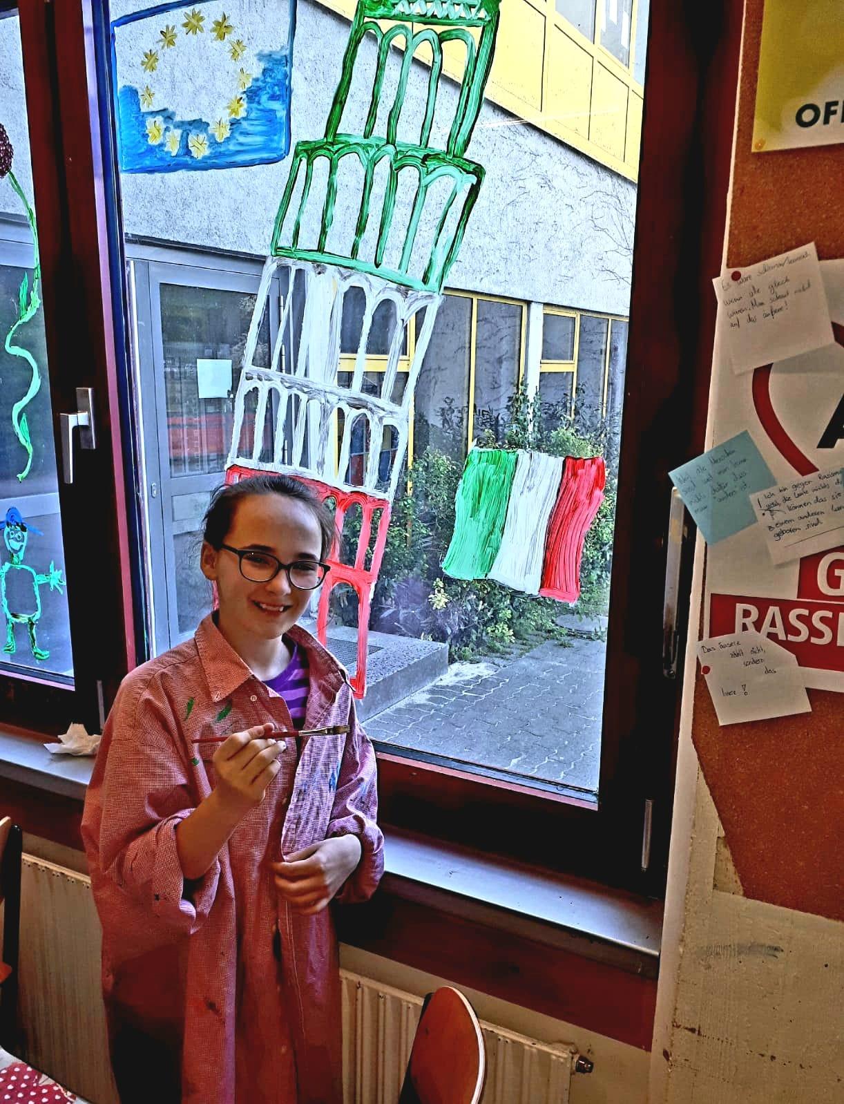 Fensterbemalung unter dem Motto: Mein Herz schlägt europäisch